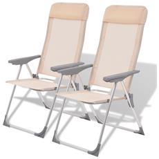2 Pz Sedie Da Campeggio In Alluminio Crema 56x60x112 Cm