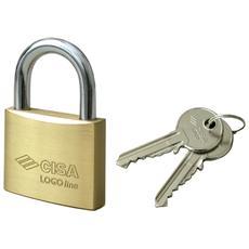 Lucchetto Cisa Logoline arco in acciaio monoblocco in ottone 2 chiavi 2 Pz