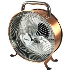 Ventilatore Da Terra Ramato 3 Eliche In Metallo 2 Velocita 15w Ventola 25cm