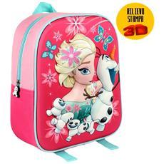 Zainetto Frozen Elsa Olaf Stampa Rilievo 3d Bambine Scuola Asilo Tempo Libero