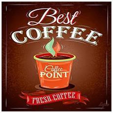 Food Vintage Quadro Su Tela Best Coffee, Legno, Multicolore, 40x40x2 Cm