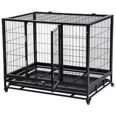 Gabbia Box Per Cani Con Rotelle 92x62x75cm