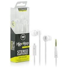 Hip Hop Auricolare Stereo Jack 3,5 mm con Microfono + Tasto di Risposta Colore Bianco