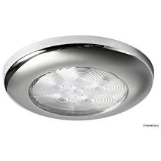 Luce di cortesia rotonda ghiera inox 6 LED bianchi