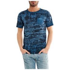 T-shirt Uomo Reversibile Fantasia Blu Xxl