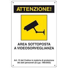 Cartello Attenzione Area Sottoposta A Videosorveglianza Segnaletica Direzionale Sicurezza Avvertimento
