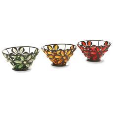 Set Da 3 Portalumini In Metallo Colorati Con Decorazioni Floreali Legler