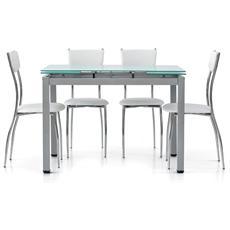 Tavolo fred 1 110x70 allungabile piano cristallo gambe metallo satinato