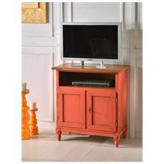 Porta Tv In Legno Cerata Anticata Arancione Antico