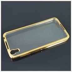 Cover Glossy Electro In Silicone Con Bordino Gold / Oro Per Huawei P10 Lite