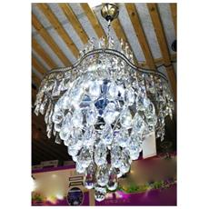 Lampadario Lampada Cristalli Pendenti Acciaio Soffitto Luce Applique Lampada