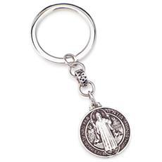 Portachiavi In Argento 925 - Collezione San Benedetto - Colore Rodio - Misura Unica