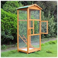 Gabbia per uccelli pappagallo grande in legno per giardino 68 × 63× 165 cm