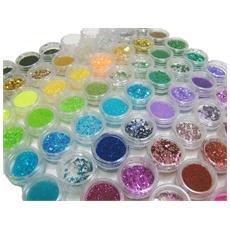 set decorazioni per unghie e nail art glitter pailettes microperle strass brillantini 72 pezzi