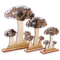 Set Da 3 Funghi Da Decorazione In Legno Legler