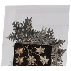Ghirlanda Luminosa Di Natale Con Fiocchi Di Neve In Metallo (160 X 8 Cm) (argento)