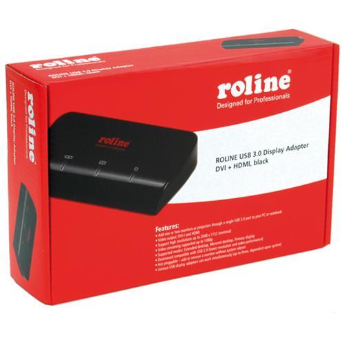 Roline USB 3.0 Dual Head Display Adapter, DVI + HDMI, black, Nero
