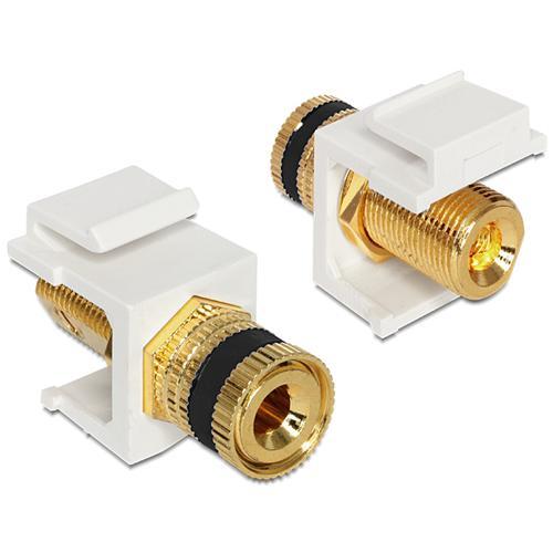 DeLOCK 86303 terminal Post Thread Jack Nero, Oro, Bianco cavo di interfaccia e adattatore