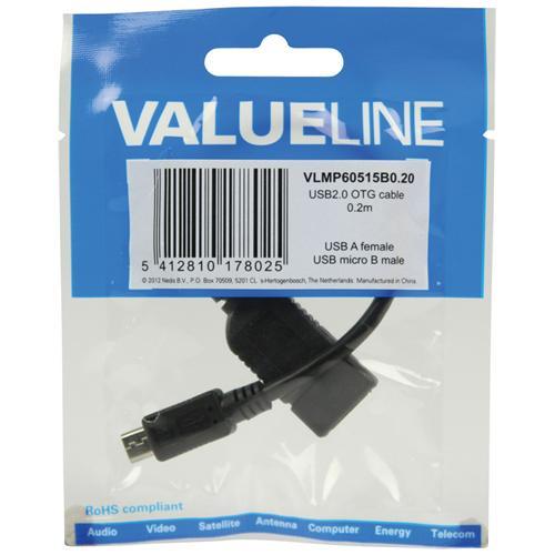 VALUELINE VLMP60515B0.20, USB 2.0 Micro-B, USB 2.0 A, Maschio / femmina, Nero, PVC, 0,2m