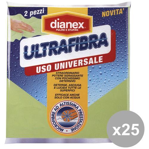 Dianex Set 25 Panni Ultrafibra X 2 Pezzi Attrezzi Pulizie