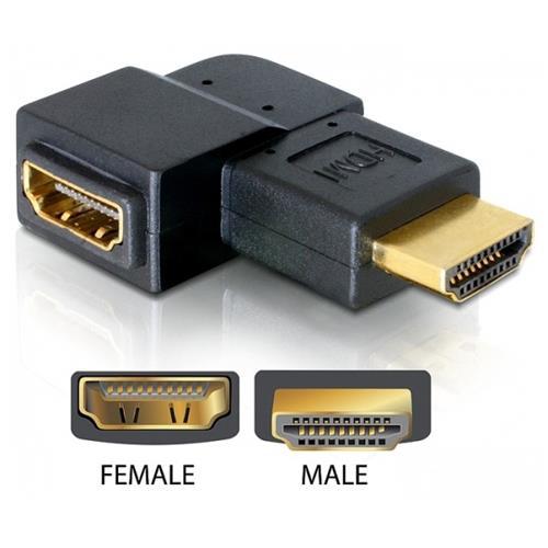 DeLOCK Adapter HDMI male > HDMI female 90° right HDMI 1.3 HDMI 1.3 Nero cavo di interfaccia e adattatore