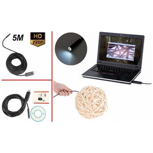 OGGETTI DI NICCHIA Endoscopio Usb 5m Sonda Videocamera Microcamera Led Telecamera Spia Flessibile