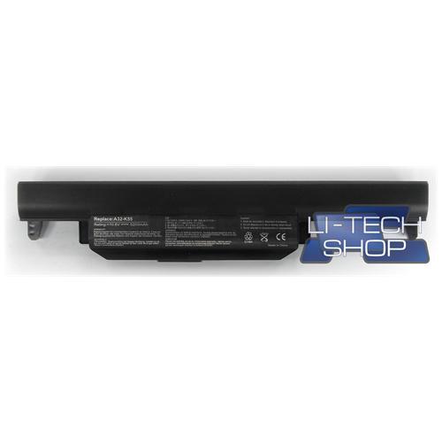 LI-TECH Batteria Notebook compatibile 5200mAh per ASUS K55ASX065V 6 celle nero computer portatile