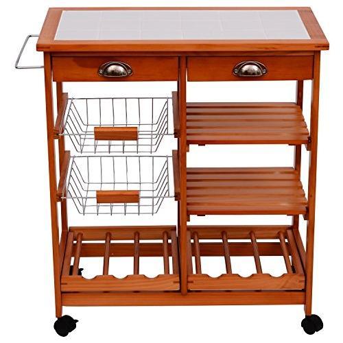 HOMCOM - Carrello per cucina in legno metallo con 4 ruote e cassetti ...