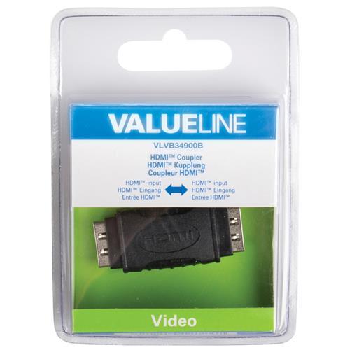 VALUELINE VLVB34900B, HDMI, HDMI, Femmina / femmina, Nero