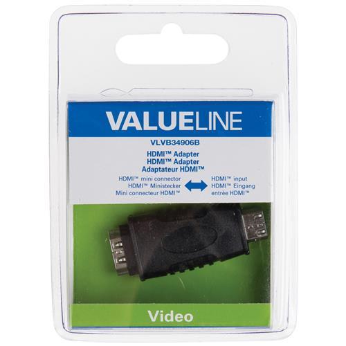 VALUELINE VLVB34906B, HDMI, Mini HDMI, Maschio / femmina, Nero