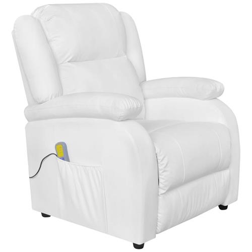 Vidaxl Poltrona Massaggiante Elettrica Ecopelle Bianca Tv