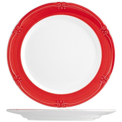 H&H Piatto Ceramica Siena Rosso Tavola Piano 25 Stoviglie