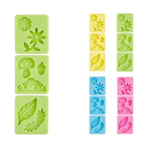 Habi Confezione 3 Stampi Silicone Pastel Natura Pasticceria