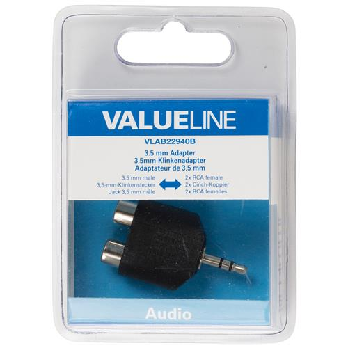 VALUELINE VLAB22940B, 3.5mm, 2 x RCA, Maschio / femmina, Nero
