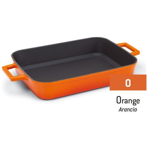 AGNELLI Griglia Bicolore In Ghisa Con Maniglie Arancio - Misura Cm 22x30