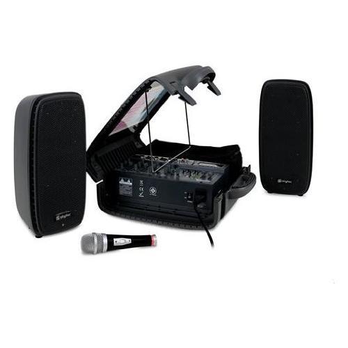 Skytec Pss-50 Impianto audio Portatile con Mixer a 6 Canali (120 Watt RmsUsb Sd Mp3 Microfono Stativi)