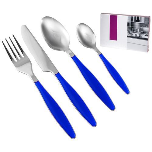 H&H Servizio Posate 24 Pezzi Lady Manico Blu Tavola