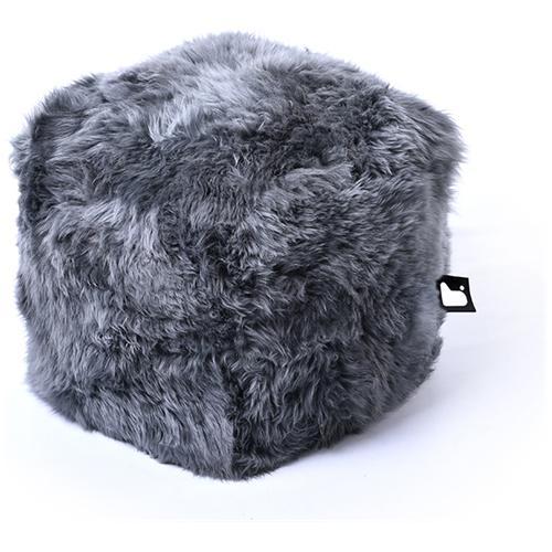 B-BAG Pouf Indoor B-box In Pelliccia Di Pecora Grey