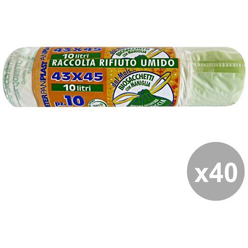 GNP Set 40 Sacchi Bio 43x45 Maniglie X 10 Pezzi Peterpan Plast Riordino