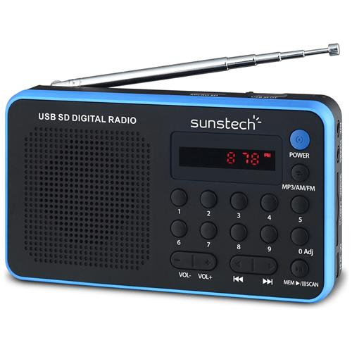 SUNSTECH Portable digital AM / FM radio Black, 3,5 mm, Portatile, LED, Analogico, AM, FM, PLL, Batteria