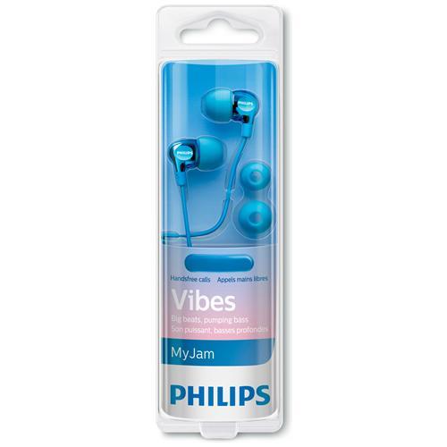 PHILIPS Cuffie Vibes Headset Auricolari Compatti Con Bassi Potenti, Finitura Metallizzata- Azzurro