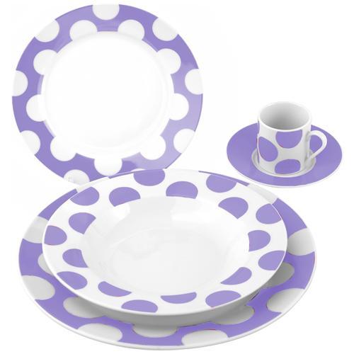H&H Set 6 Piatti Frutta Porcellana Decorazione Pois Lilac 19 Stoviglie