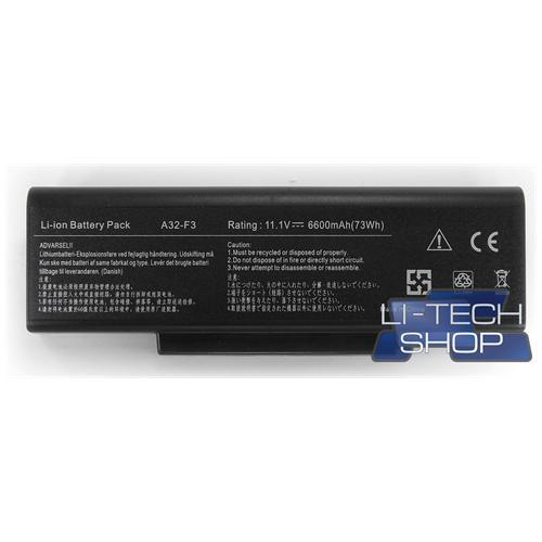 LI-TECH Batteria Notebook compatibile 9 celle per ASUS F3E 10.8V 11.1V nero pila 73Wh 6.6Ah