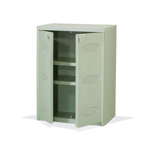 Bianco Armadietto Mobile Base Per Esterno Mod. 5500 In Plastica Nel Colore Grigio Con 2 Ante 65x45x88cm Cod. 02195
