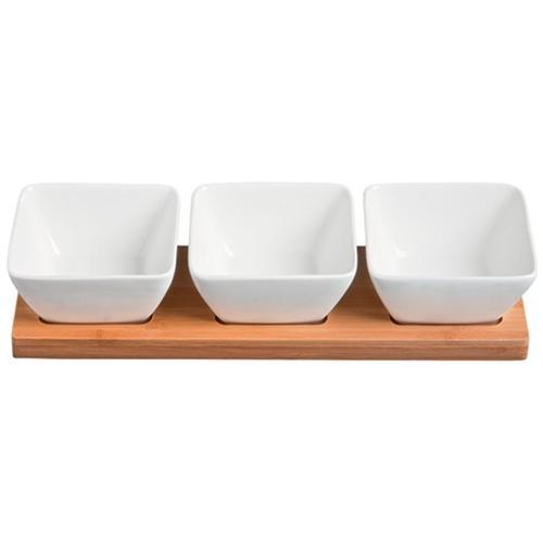 Fade Set Quadrati 3 Pezzi Per Antipasti In Porcellana Bianca E Vassoio In Bamboo Mythos Cod. 48126