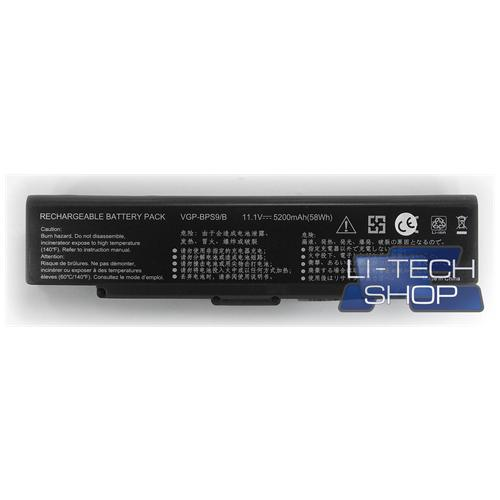LI-TECH Batteria Notebook compatibile 5200mAh nero per SONY VAIO VGNCR225EL 6 celle pila