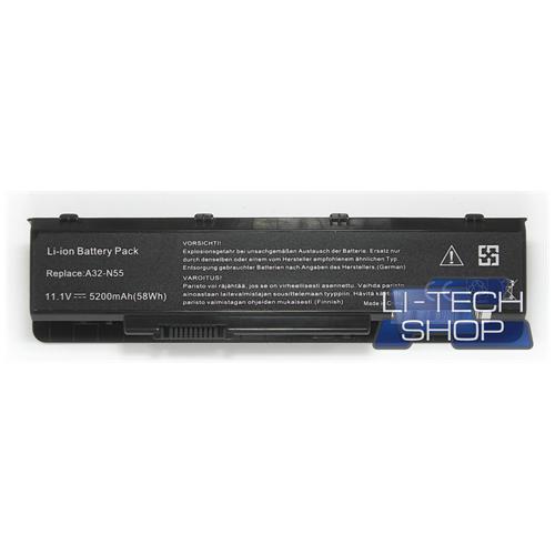 LI-TECH Batteria Notebook compatibile 5200mAh per ASUS N75SL-V2G-TZ090V nero computer 5.2Ah