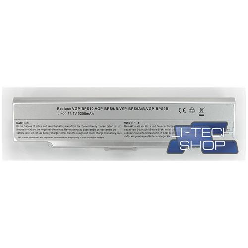 LI-TECH Batteria Notebook compatibile 5200mAh SILVER ARGENTO per SONY VAIO VGN-AR82S 6 celle 57Wh
