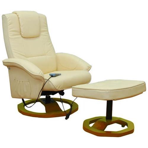vidaXL Poltrona Relax Massaggio Eva, Reclinabile, Crema