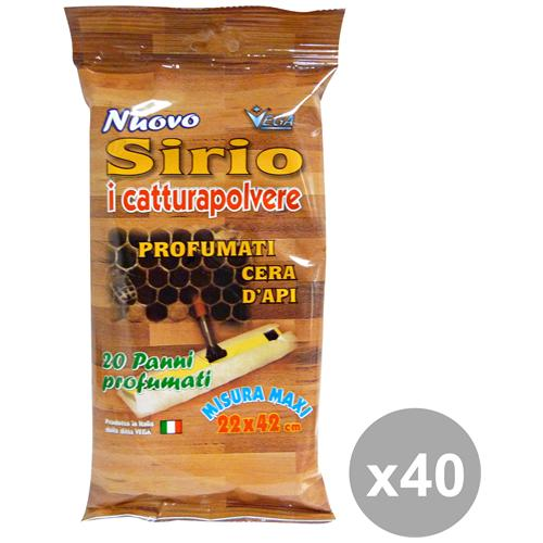Sirio Set 40 Panni Polvere Cera D'api X 20 Pezzi Attrezzi Pulizie